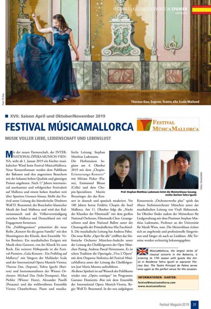 Festival MúsicaMallorca im Festival Magazin